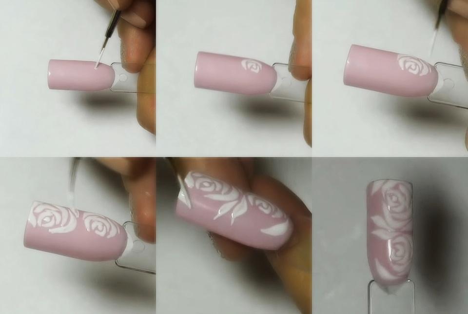 Цветы рисунки на ногтях пошагово